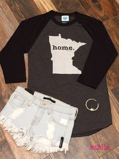 I'm Coming Home ‪#‎ICH6142‬ MN Home Baseball Tee: $38 Denim Shorts: $48 Bracelet: $18 To add this Minnesota home outfit to your closet, fill out this form at http://form.jotform.us/form/42265697798173. For immediate assistance call us at 320-774-1533! We ship nationwide!