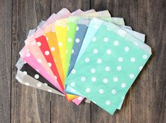 Colored Polka dot Paper Treat Bags  - Polkadot packaging, Bridal or Baby Shower Party Supplies, Gift Wrap, decor, paper goods, food display