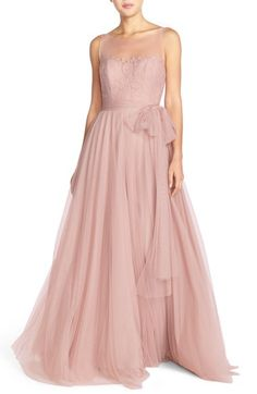 Watters 'Lisa' Illusion Yoke Lace & Bobbinet A-Line Gown available at #Nordstrom