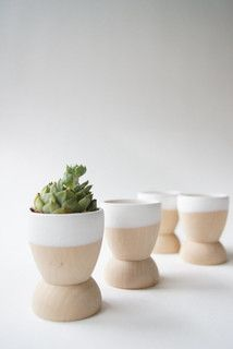 Mini Planters, Snow White by Wind & Willow Home - contemporary - indoor pots and planters - by Etsy