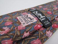 Auth HERMES Paris Tie 7449 HA Blue Green Pink Red Whimsical Tulip Flowers France #Hermes #Tie