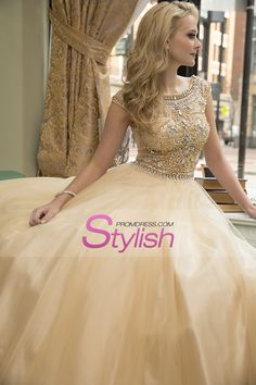 2015 Scoop A-Line Prom Dress Floor-Length Full Beaded Bodice Champagne Tulle US$208.99 STPY7LM51T - StylishPromDress.com