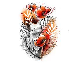 # Tattoo # Tattoos # Tätowieren # Tätowieren # Flowertattoo # Tattoodesign # R. - New Ideas Tattoo Sketches, Tattoo Drawings, Cool Drawings, Art Sketches, Love Tattoos, Beautiful Tattoos, Body Art Tattoos, Hand Tattoos, Fox Tattoo Design