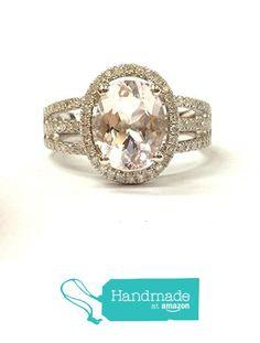 Oval Morganite Engagement Ring Pave Diamond Wedding 14K White Gold 7x9mm Split Shank from the Lord of Gem Rings https://www.amazon.com/dp/B01HDSMXW4/ref=hnd_sw_r_pi_dp_-qCAxbG2XJYMR #handmadeatamazon