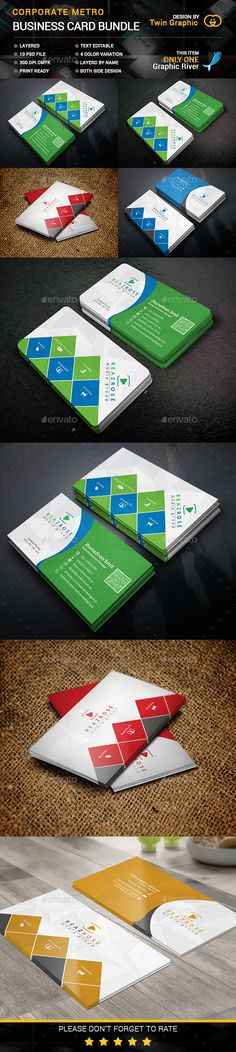 Croporate Metro Business Card bundle Templates PSD #design Download: http://graphicriver.net/item/-croporate-metro-business-card-bundle-/13620119?ref=ksioks