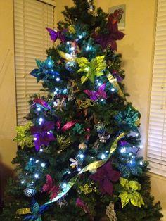peacock blue purple lime green christmas tree xmas tree christmas tree decorations peacock blue - Purple And Blue Christmas Tree Decorations