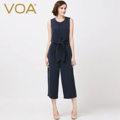 Find More Jumpsuits Information about VOA 2016 summer new blue heavy silk straight jumpsuit England female wide leg pants K5871,High Quality wide leg evening pants,China wide leg plus size pants Suppliers, Cheap wide leg denim jumpsuit from VOA Flagship Shop on Aliexpress.com