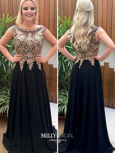 Black Prom Dresses Long, Modest Formal Dresses for Teens, Vintage Graduation Dresses A-line, Elegant Wedding Party Dresses Chiffon Gold Prom Dresses, Beaded Prom Dress, Beaded Chiffon, A Line Prom Dresses, Prom Dresses Online, Chiffon Dress, Lace Dress, Evening Dresses, Party Dresses