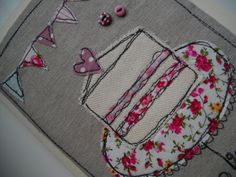 A very pretty handmade machine embroidered card, this is sewn onto oatmeal linen and mounted onto a quality cream card. With a couple of pink Embroidery Cards, Free Motion Embroidery, Free Motion Quilting, Embroidery Applique, Fabric Cards, Fabric Postcards, Freehand Machine Embroidery, Free Machine Embroidery, Sewing Cards
