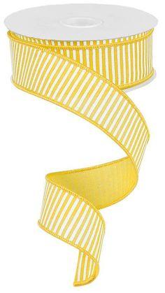 1.5 Yellow Royal Stripe Ribbon 10 Yards by CustomWreathDecor