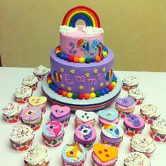My Little Pony cake and matching cupcakes -