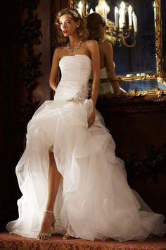 Strapless White Organza High-low Wedding Dress Ball Gown Bridal Dresses Beach // Ruched Bodice & Pickup Skirt SPK470
