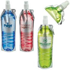 Promotional Folding Water Bottle - 18 oz. - conference swag