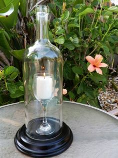 Homemade DIY Rope Wine Bottle Centerpiece Candle Holders - 2016 Valentine's day Flower Table Candle Light - LoveItSoMuch.com