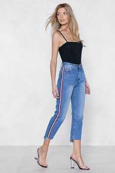 Nasty Gal nastygal You're Absolutely Stripe High-waisted Jeans New Outfits, Summer Outfits, Summer Clothes, Striped Jeans, Blue Denim, Business Dresses, Long Sleeve Crop Top, High Waist Jeans, Nasty Gal