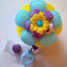 Padded Felt Flower and Yellow Flower Resin Retractable Id Badge Reel on Etsy, $15.50 #etsy #katieskreations #nurse