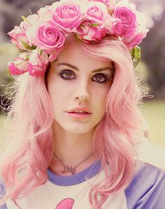 Pink hair with roses