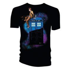 Doctor Who 10th Doctor on TARDIS T-Shirt