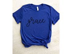 *grace*  -color: dark blue shirt, black ink  Bella + Canvas brand unisex t-shirt  These tees are extremely soft, comfortable, and flattering...perfect for a workout or just everyday wear!  I personally screen print all of the shirts, using water-based, non-toxic ink.  *As with all of my tops, multiple shirt and ink color options are available. If you cannot find what you are looking for in my listings, shoot me a message and I can make you a custom shirt