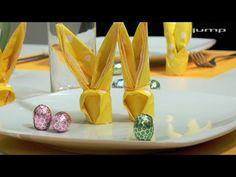 Servietten-Osterhasen falten - YouTube