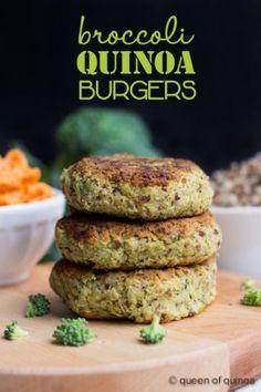 Quinoa Burgers Vegan Broccoli Quinoa Burgers with the taste of cheesy goodness!Vegan Broccoli Quinoa Burgers with the taste of cheesy goodness! Veggie Recipes, Whole Food Recipes, Vegetarian Recipes, Healthy Recipes, Vegan Vegetarian, Veggie Meals, Broccoli Recipes, Potluck Recipes, Veggie Dishes