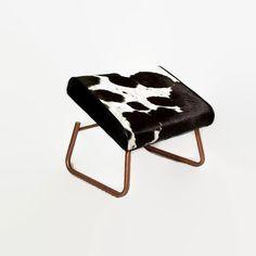 Mid Century Footstool  Adjustable Hassock  Leather by CityBeepster