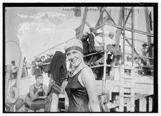 Swimmer Josephine Barlett during the Jamaica Bay Yacht Club's water carnival at Holland, Rockaway Beach, New York, August 20, 1916.