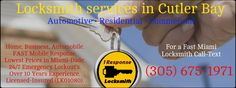 1 Response Locksmith are dedicated to provide quality locksmith services for residential and commercial security in Cutler Bay. Our Locksmith technicians are specialized in all kinds of locksmith services which include, auto locks, safes security systems, window locks, door security system and many others. See More Details : https://locksmithinmiamifl.org/locksmith-cutler-bay-fl/
