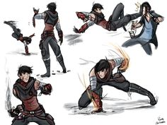 Tadashi fightstyle. His darkpath version is more of a messy street fighter, a mix of martial arts, boxing, and kickboxing. Though oddly, he prefers to kick things rather than punch them, probably because he's afraid he'll actually seriously hurt someone with his gauntlets. They're pretty powerful, though the shotgun rounds they can fire off only serve to knock things back - they explode on impact, rather than pierce. His gauntlets also seem to be on fire sometimes, but only for brief…