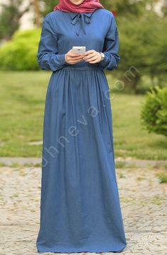 Fularlı Kot Elbise - Lacivert Denim Maxi Dress, Hijab Dress, Hijab Outfit, Jeans Dress, Muslim Fashion, Modest Fashion, Hijab Fashion, Fashion Dresses, Hijab Moda