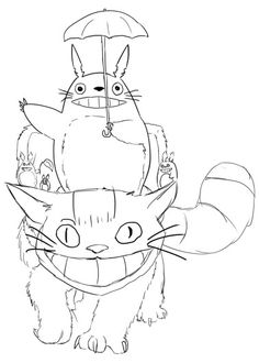 Totoro and Cat bus coloring page