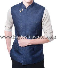 Amazing look Indian designer thread work Nehru Jacket made from navy blue color dupion silk fabric. Sleeveless Jacket For Men, Navy Fabric, Silk Fabric, Modi Jacket, Mandarin Collar Jacket, Blazers For Men Casual, Black Waistcoat, Mens Sherwani, Mens Kurta Designs