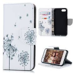 For Apple iPhone 7 Cases Cover Flip Stand PU Leather Wallet Case Card Slot Cute Cartoon Flower Dandelion Skin For iPhone7