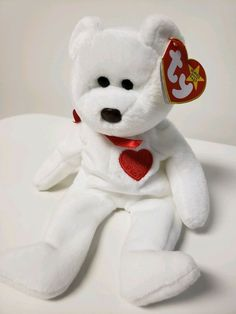 d2503d6985f Ty Beanie Baby Valentino White Valentine s Bear Brown Nose Collectible  Ty  Beanie Babies