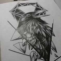 Crow raven. Tattoo inspiration. Dot stuff. Line stuff.