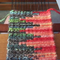 Practicing tapestry techniques with old handspun. Colors may not work but it makes it interesting. #tapestryweaving #tapestry #handspun #wool