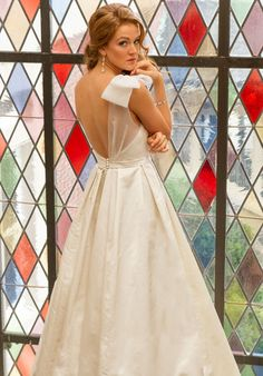 Victoria Nicole – Ivory Soft Satin A-line gown with sheer one shoulder and bow accent – Ellie's Bridal Boutique (Alexandria, VA) Beautiful Dresses, Nice Dresses, Prom Dresses, Formal Dresses, Bridal Gowns, Wedding Gowns, Perfect Wedding, Dream Wedding, A Line Gown