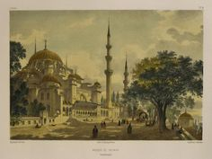 MOSQUEE+DE+SOLIMAN,+CONSTANTINOPLE,By+Jean-Baptiste+Eugene+Napoleon+Fladin,Hand+coloured,+Published+by+Gide+&+J.+Baudry,+Paris+1853,Original+antique+lithograph.jpg (618×466)