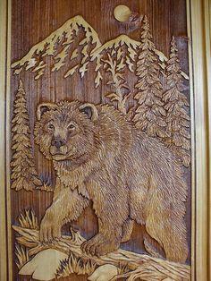 carved bear door by mndoors, via Flickr