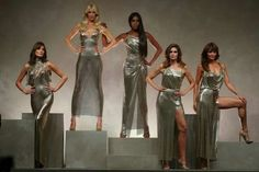upermodels of the 1990s fashion world reunited on the Versace runway for Milan Fashion Week to honor the late designer.  Carla Bruni,49, Claudia Schiffer, 47,Naomi Campbell,47,Cindy Crawford,51, andHelena Christensen,48, all wore gold slip gowns that aligned with early looks of Gianni Versace, who was slain 20 years ago.