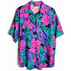 Vintage 80s Tropical Party Shirt Pink Purple Jungle Top women's medium ($35) ❤ liked on Polyvore featuring tops, shirts, holiday party tops, party shirts, pink shirts, night out shirts and vintage 80s t shirt