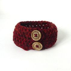 Burgundy Recycled Crochet Cuff with Textured Buttons by Pookledo, £3.00