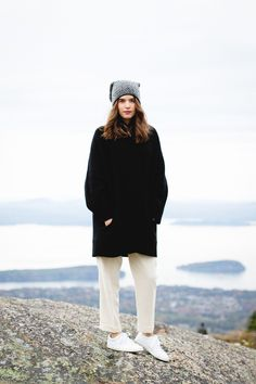 Fall, Winter style: Polo Ralph Lauren cardigan, high waisted wool pants, Adidas Stan Smith or Superstar style white leather sneakers from Zara, Topshop beanie, Chanel Coco Rouge Shine lipstick in Aura