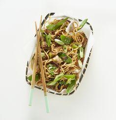 Boodschappen - Eiernoedels met paddenstoelen, paksoi en peultjes
