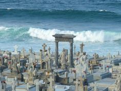 Puerto Rico. The Santa Maria Magdalena de Pazzis cemetery is just beautiful. It's a colonial era burial ground surrounded by a 40-foot high wall right at the ocean's edge. This placement was believed to help spirits pass over into the afterlife.