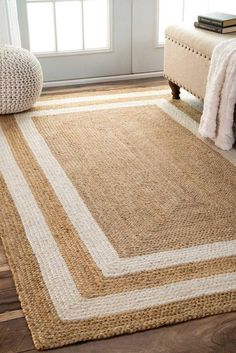 Rugs USA - Area Rugs in many styles including Contemporary, Braided, Outdoor and Flokati Shag rugs.Buy Rugs At America& Home Decorating SuperstoreArea Rugs Rugs USA Natural Maui Jute Double Border rug - Jute & Sisal Rectangle x crochet border Dorsey Natur Natural Fiber Rugs, Natural Area Rugs, Natural Rug, Mandala Rug, Braided Rag Rugs, Border Rugs, Farmhouse Rugs, Farmhouse Decor, Farmhouse Design