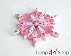 Quilled Snowflake Ornament for Seasonal Home Decor in Pink and White; First Christmas Gift