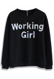Sequins Working Girl Sweat Top