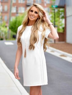 Short Sleeve Shift Dress in White - $44.99 : FashionCupcake, Designer Clothing, Accessories, and Gifts