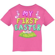 Cute pink Easter baby t-shirt for a little girl to wear on her first easter. My First Easter in pretty pastels letters above eggs and below pretty pink bunnies.